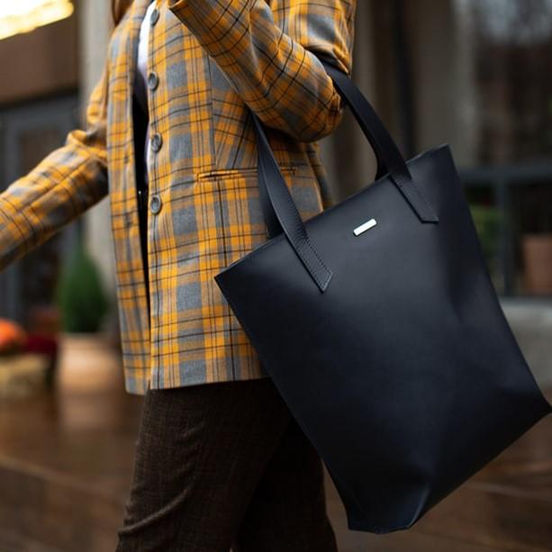 Женская кожаная сумка Blanknote D.D. Темно-синий 12656 - фото 1