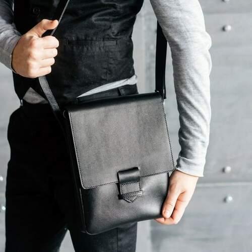 Кожаная сумка-мессенджер BlankNote Esquire, графит 12233 - фото 1