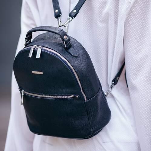 Кожаный рюкзак BlankNote Kylie синий 12632 - фото 1