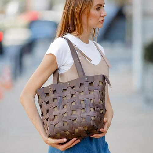 Женская кожаная сумка Blanknote Пазл L 14005 - фото 1