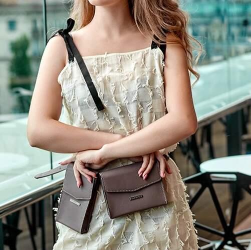 Набор женских кожаных сумок Mini поясная/кроссбоди 14037 - фото 1