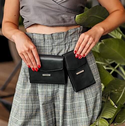Набор женских кожаных сумок Mini поясная/кроссбоди 14038 - фото 1