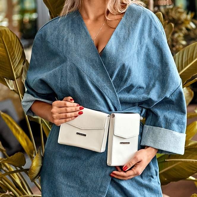 Набор женских кожаных сумок Mini поясная/кроссбоди 14039 - фото 1
