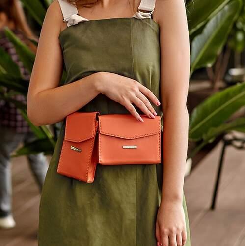 Набор женских кожаных сумок Mini поясная/кроссбоди 14040 - фото 1
