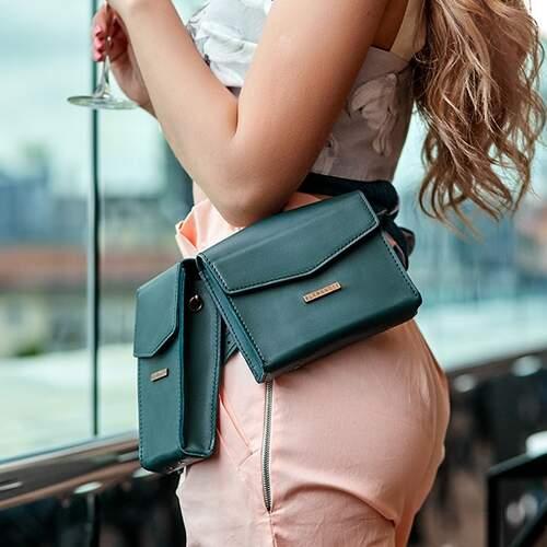 Набор женских кожаных сумок Mini поясная/кроссбоди 14041 - фото 1