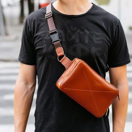 Кожаная сумка на пояс Blanknote DROPBAG MAXI 12175 - фото 1