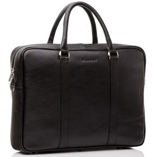 """Кожаная черная сумка для ноутбука 12-14"""" Blamont 6579 - фото 1"""