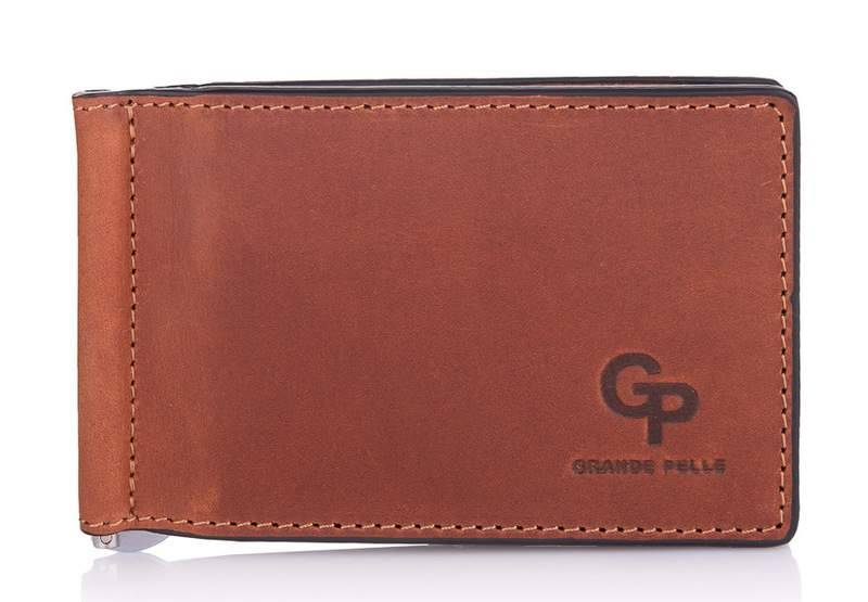 Мужской зажим для денег рыжий Grande Pelle 18613 - фото 1
