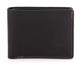 Мужской кожаный черный кошелек на магните Grande Pelle