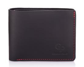 Мужской кожаный черный кошелек на магните Grande Pelle id