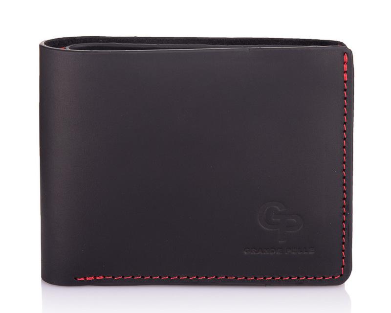 Мужской кожаный черный кошелек на магните Grande Pelle 18588 - фото 1