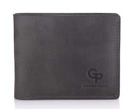 Мужской кожаный серый кошелек на магните Grande Pelle id
