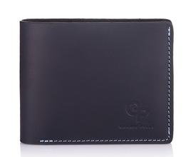 Мужской кожаный синий кошелек на магните Grande Pelle id