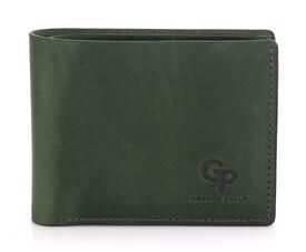 Мужской кожаный зеленый кошелек на магните Grande Pelle