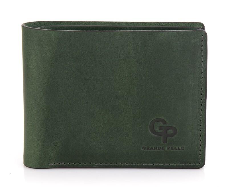 Мужской кожаный зеленый кошелек на магните Grande Pelle 19478 - фото 1