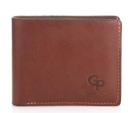 Мужской кожаный коричневый кошелек на магните Grande Pelle id