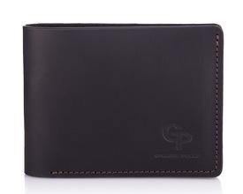 Кожаный мужской кошелек черный с коричневыми вставками Grande Pelle id