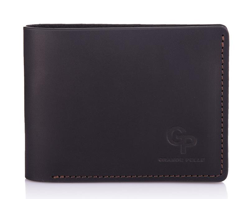 Кожаный мужской кошелек черный с коричневыми вставками Grande Pelle 18603 - фото 1