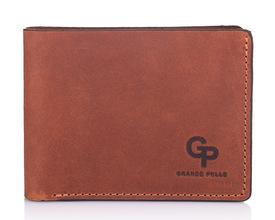 Кожаный мужской кошелек рыжий Grande Pelle id