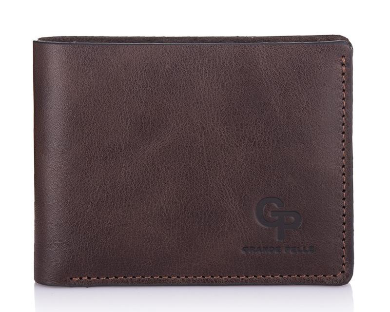 Кожаный мужской кошелек коричневый Grande Pelle 18595 - фото 1