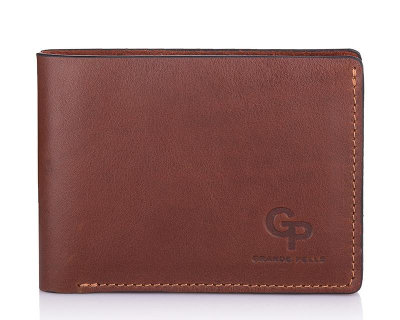 Кожаный мужской кошелек коричневый Grande Pelle 18596 - фото 1