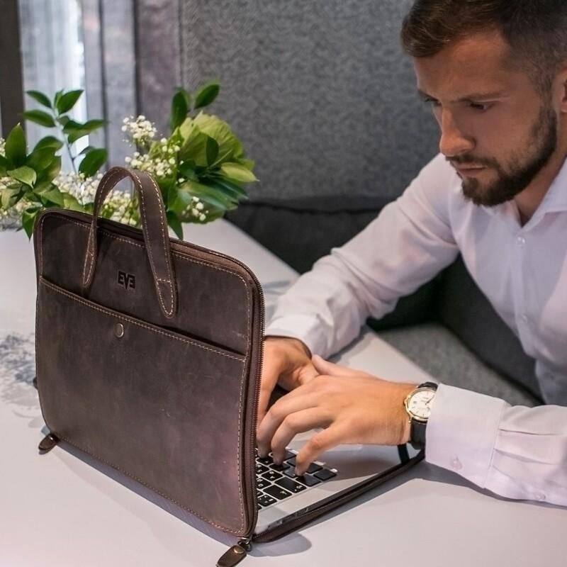 """Кожаная сумка для ноутбука Level """"Фолдер"""" 12619 - фото 1"""