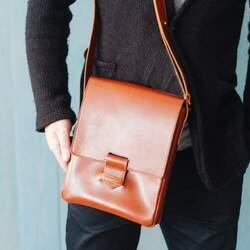 Кожаная сумка-мессенджер BlankNote Esquire, коньяк