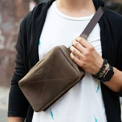 Кожаная сумка на пояс DROPBAG MAXI (ОРЕХ) id