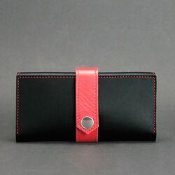 Портмоне на кнопке Blanknote 3.0 Черное с красным id