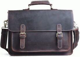 Винтажный мужской кожаный портфель Tiding
