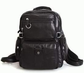 Черный кожаный рюкзак Tiding id