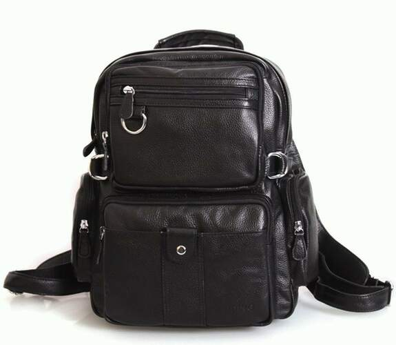 Черный кожаный рюкзак Tiding 5519 - фото 1
